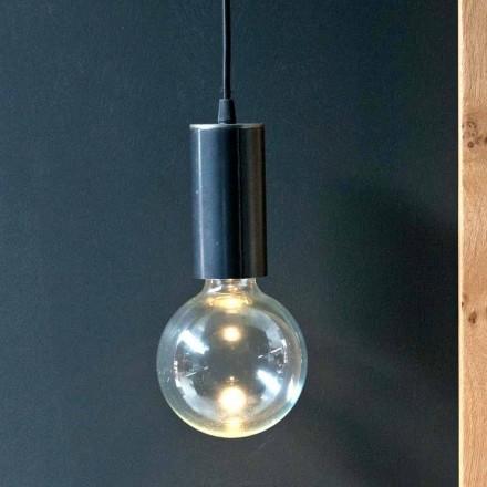 Hængende lampe i jern og glas med bomuldskabel fremstillet i Italien - Ampolla