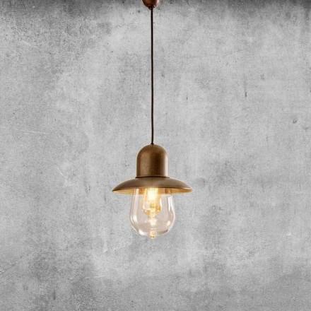 Vintage ophængt lampe med messingreflektor - Guinguette Aldo Bernardi