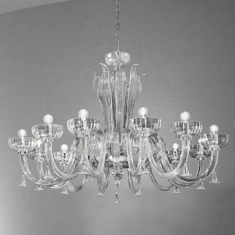 12 lys håndlavet lysekrone fra venetiansk glas, fremstillet i Italien - Regina