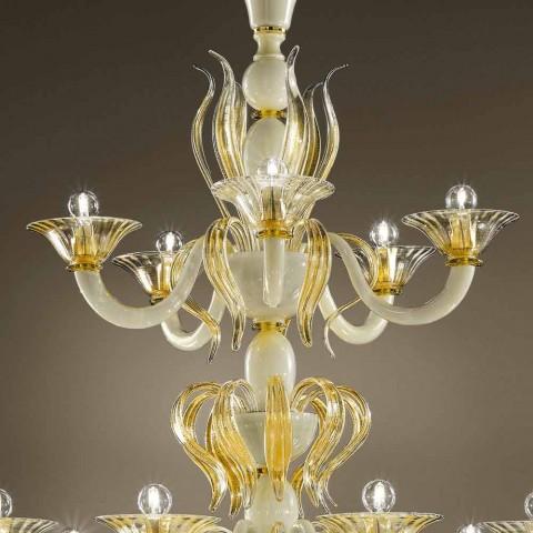 15 lysekrone i hvid og guld venetiansk glas, fremstillet i Italien - Agustina