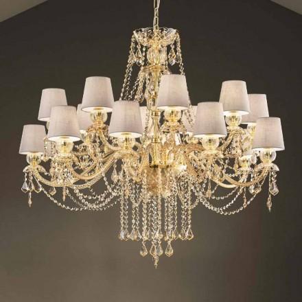 Lysekrone med 16 lys håndlavet i Venedigglas, fremstillet i Italien - Milagros