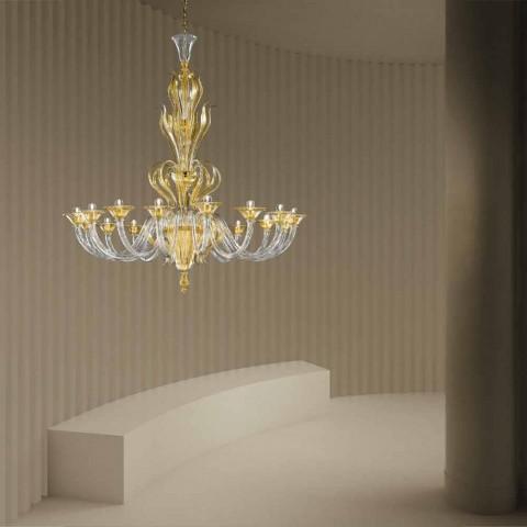 16 lys håndlavet lysekrone fra venetiansk glas, fremstillet i Italien - Agustina