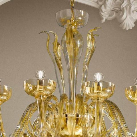 16 lysekrone i venetiansk glas og guld, håndlavet i Italien - Regina