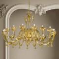 16 lys venetiansk glas og guld lysekrone, håndlavet i Italien - Regina