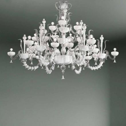 Lysekrone med 27 lys i hvidt Venedig-glas, håndlavet i Italien - Regina