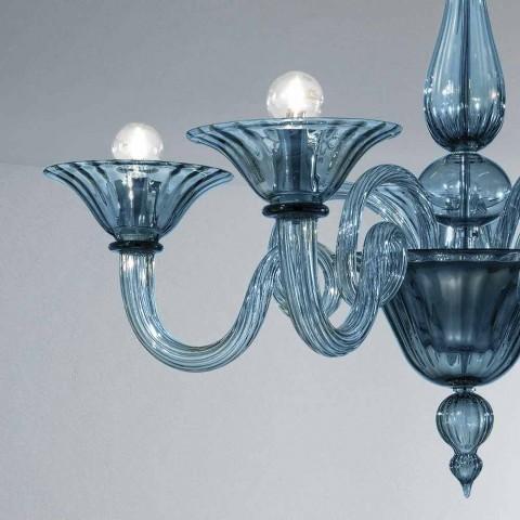 5 lys Artisan Glass Lysekrone fra Venedig, fremstillet i Italien - Margherita