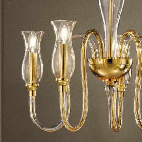 Lysekrone med 5 lys Håndlavet i Italien i venetiansk glas - Vittoria