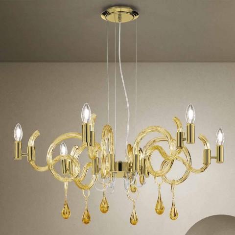 6 lys håndlavet lysekrone fra Venedig, lavet i Italien - Bernadette