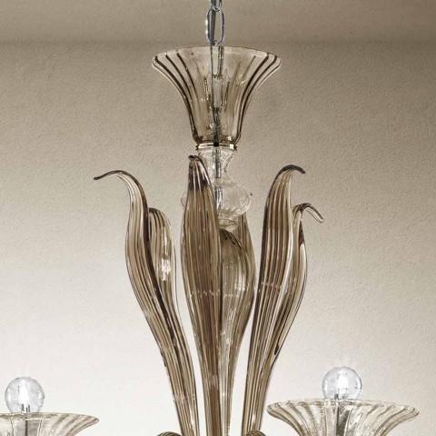 Artisan 6-lysekrone i røget venetiansk glas fremstillet i Italien - Agustina
