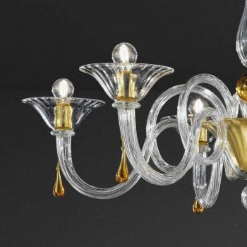 6 lys håndlavet lysekrone fra venetiansk glas, fremstillet i Italien - Margherita