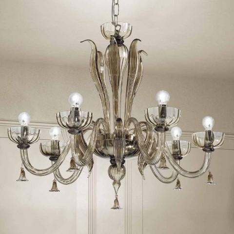 6 lys lysekrone fra venetiansk glas, håndlavet i Italien - Regina
