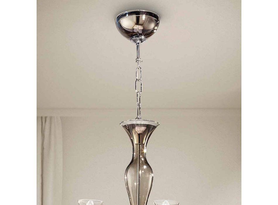 Artisan 8-Light lysekrone i røget venetiansk glas fremstillet i Italien - Vittoria