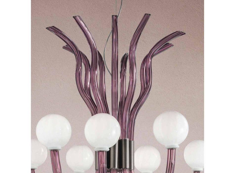 9 lys lysekrone fra venetiansk glas i ametyst, lavet i Italien - Antonietta