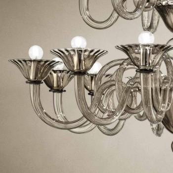 Artisan Lysekrone med 18 lys i Venedig-glas, fremstillet i Italien - Margherita