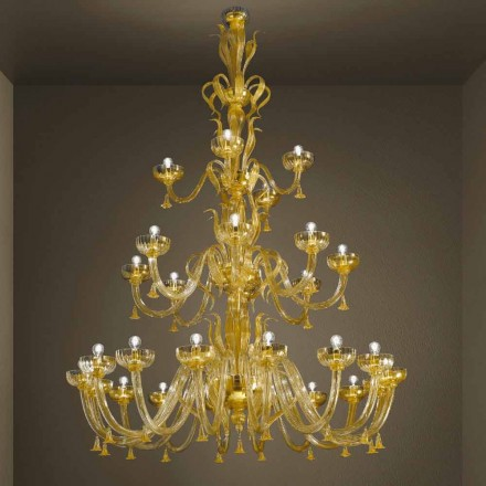Håndlavet lysekrone med 28 lys i venetiansk glas og guld fremstillet i Italien - Regina