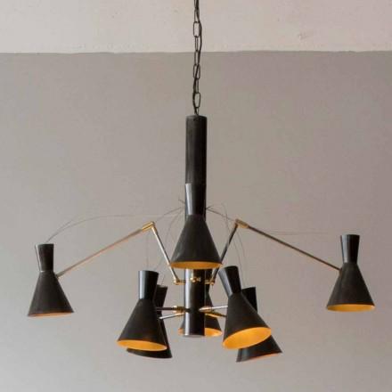 Håndlavet lysekrone med jern- og aluminiumsstruktur Lavet i Italien - Selina