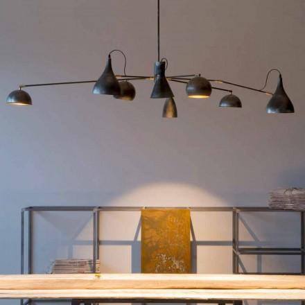 Håndlavet lysekrone af jern med aluminiumsskærme Made in Italy - Verino