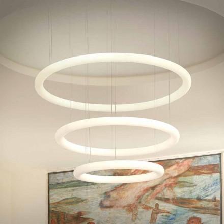 Hvid LED-lysekrone med metalroset Lavet i Italien - Slide Giotto