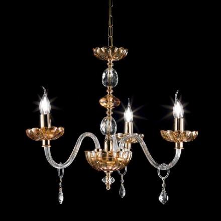klassiske lysekrone i krystal og glas 3 lyser Belle, lavet i Italien