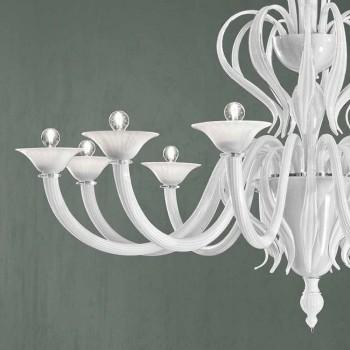 12 lys Venedig glas lysekrone håndlavet i Italien - Agustina