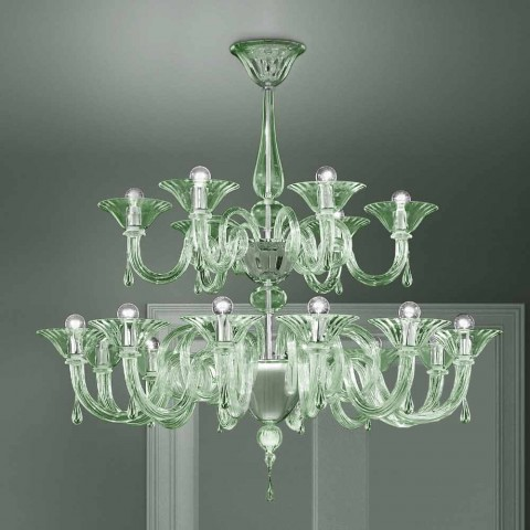 18 lys venetiansk lysekrone, håndlavet i Italien - Margherita