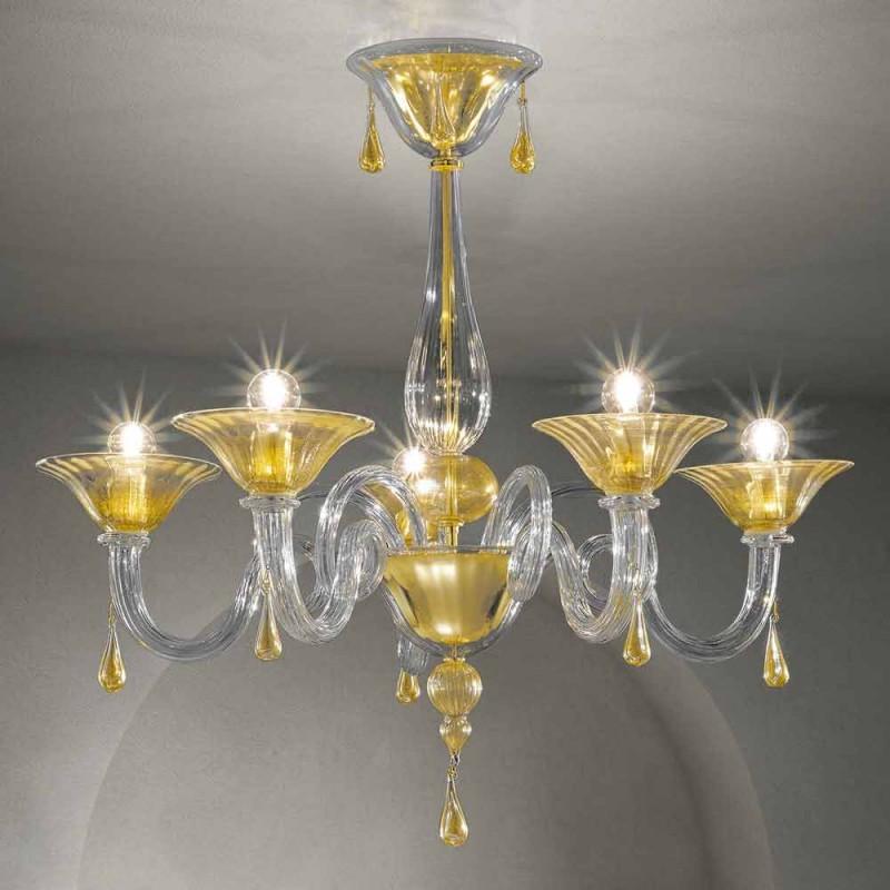 5 lys Venedig-lysekrone, håndlavet i Italien - Margherita