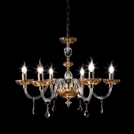 Lysekrone klassisk design med 6 glas lys og glas Fin