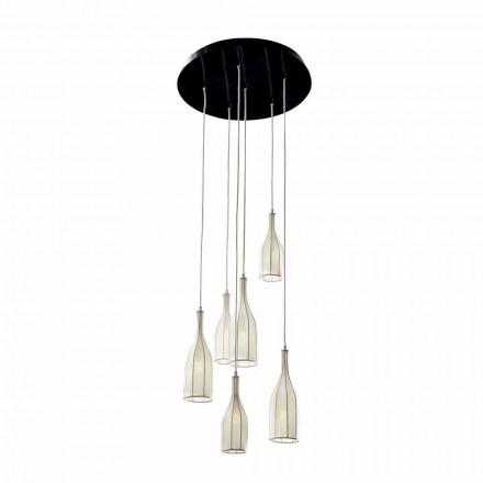 Design lysekrone med 6 lampeskærme Grilli Mathusalem lavet i Italien