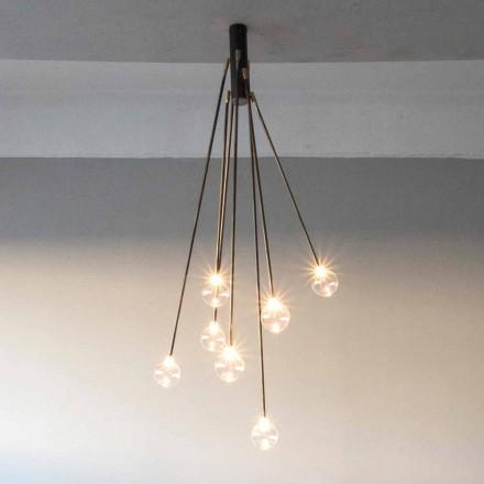 Håndlavet lysekrone med jerndesign med 7 lys fremstillet i Italien - Ombro