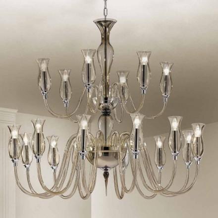 Håndlavet lysekrone med 18 lys i Venedig Glas fremstillet i Italien - Vittoria