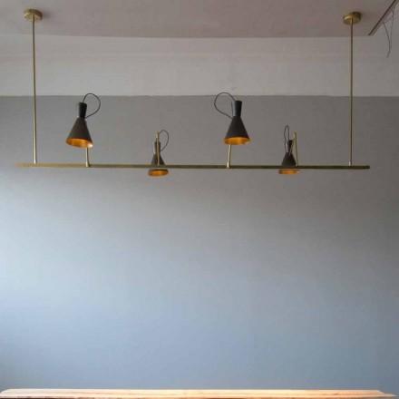 Håndlavet lysekrone i natur messing og aluminium fremstillet i Italien - Selina