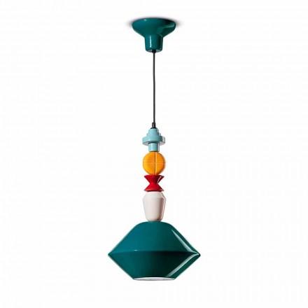 Grøn eller gul keramisk ophængslampe fremstillet i Italien - Ferroluce Lariat