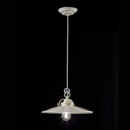 Industriel vintage lysekrone i blank keramiske Gloria Ferroluce