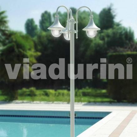 Udendørs tre-lys lygtepost i hvidt aluminium, fremstillet Italien, Anusca