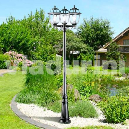 Klassisk have tre lys lamper i aluminium, Kristel