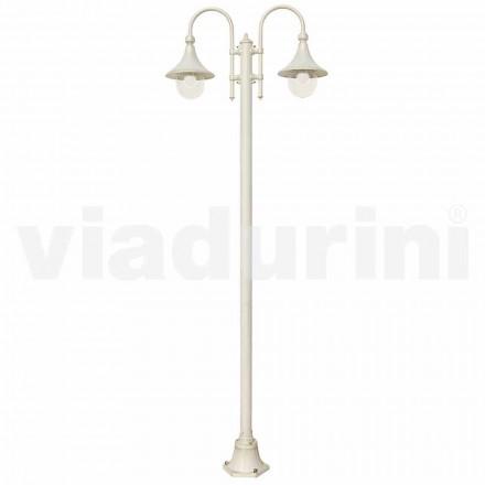 Havelygtepost lavet med hvidt støbt aluminium, fremstillet Italien, Anusca