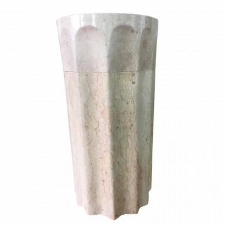 Daisy kolonne håndvask i hvid natursten, unikt stykke