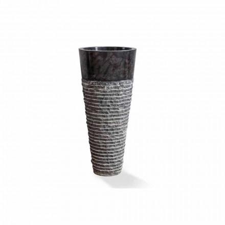 Søjlehåndvask af moderne design i blank sort marmor - Merlo