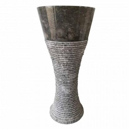 Pedestal håndvask i mørkegrå natursten Fara, unikt stykke