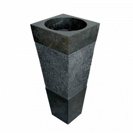 pyramideformet kolonne vask i sort natursten Nias