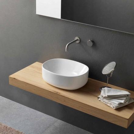 Moderne design oval køkkenvask i hvid keramik - Ventori2