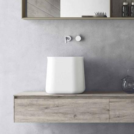 Høj firkantet moderne design køkkenvask i hvid harpiks - Tulyp