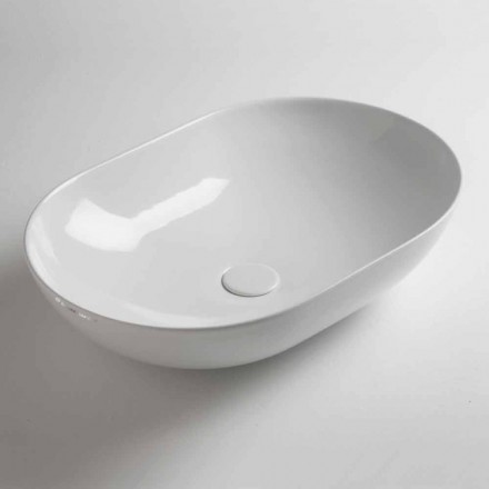 Ovalt bordplade i farvet keramik fremstillet i Italien - kæde