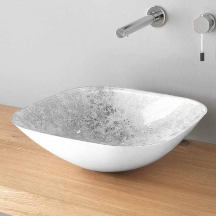 Firkantet håndvask i køkkenbordet i glas med indvendigt bladindretning - Wandor