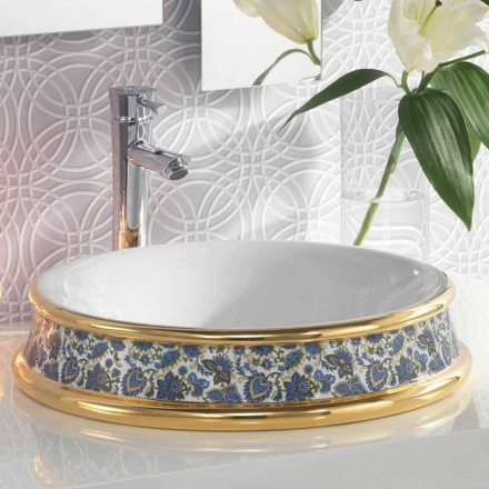 Semi-forsænket badeværelsevask i ild ler / 24k guld lavet i Italien, Manilo