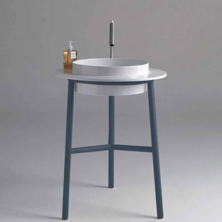 Runde vask badeværelse keramik med metallisk basis Kathy