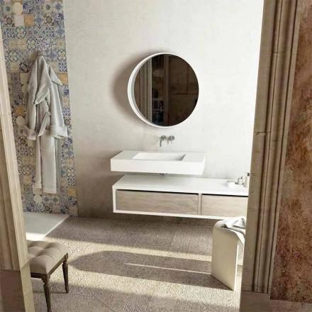 Top med integreret central vask til badeværelset Gemona, fremstillet i Italien
