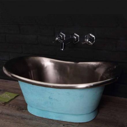 Håndvask færdig i satin nikkel og spanskgrønt Calla