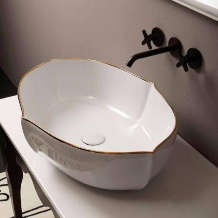 Countertop design keramisk hvidguld håndvask lavet i Italien Oscar