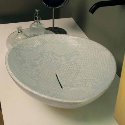 Hvid keramisk snakeskin design bordtæppe lavet Italien Dyr